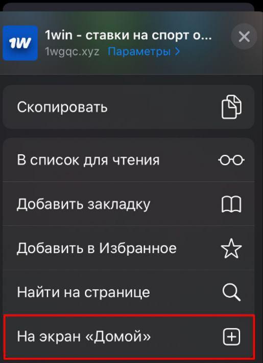 установка 1вин на Айфон